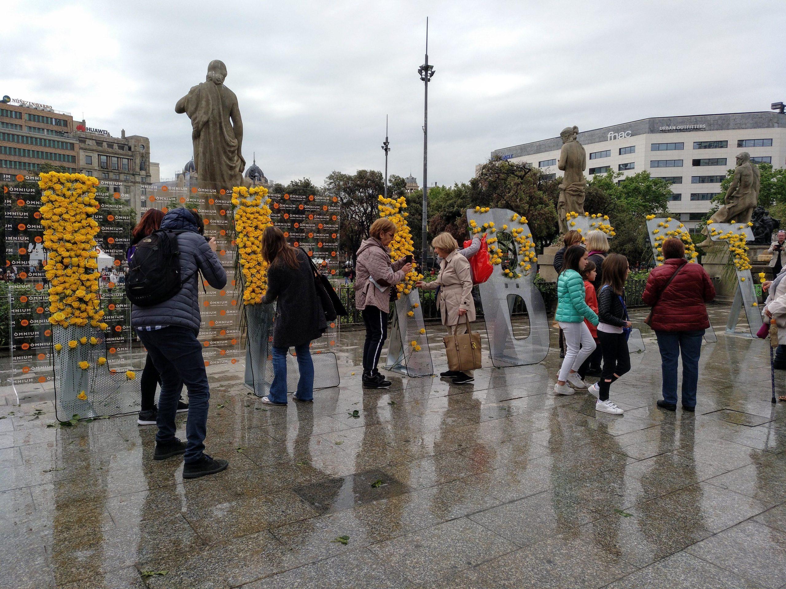 Instal·lació d'Òmnium Cultural a plaça Catalunya, amb roses grogues / MMP