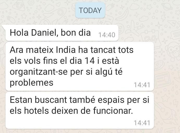Missatge del departament d'Afers Exteriors a Dani Benedicto / TOT Barcelona