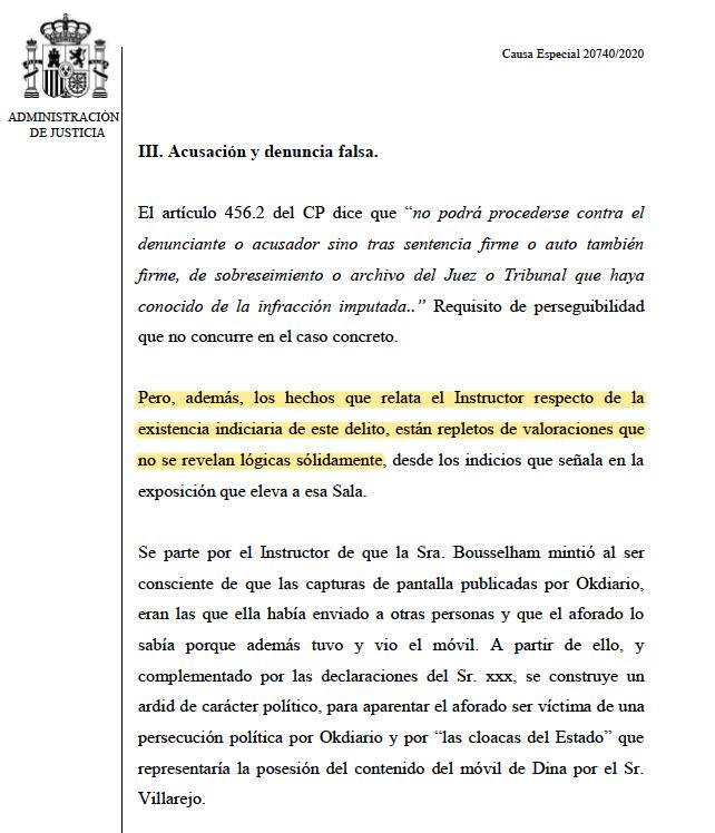 Part de l'informe de la Fiscalia demanant l'arxiu de la petició d'obertura de causa especial contra Iglesias al Suprem