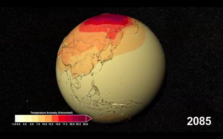 Estimació de l'escalfament global el 2085  | NASA